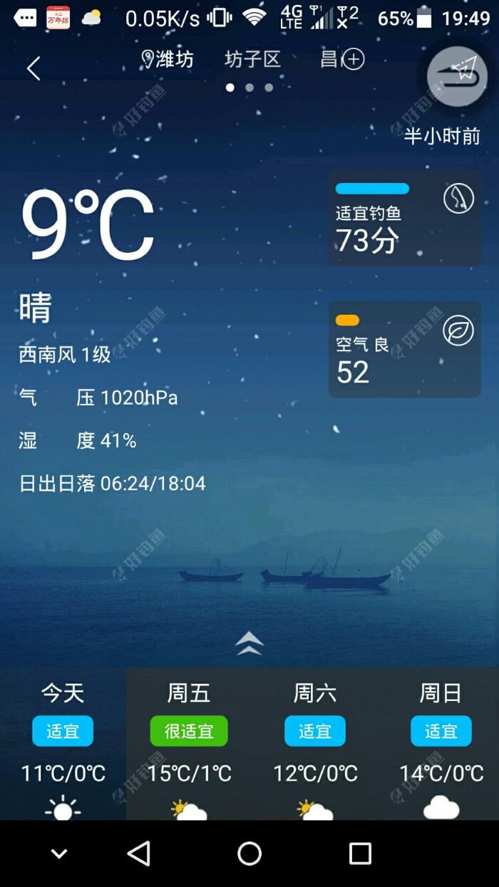 晚上的天气预报截图,实际上白天是西北风3级。