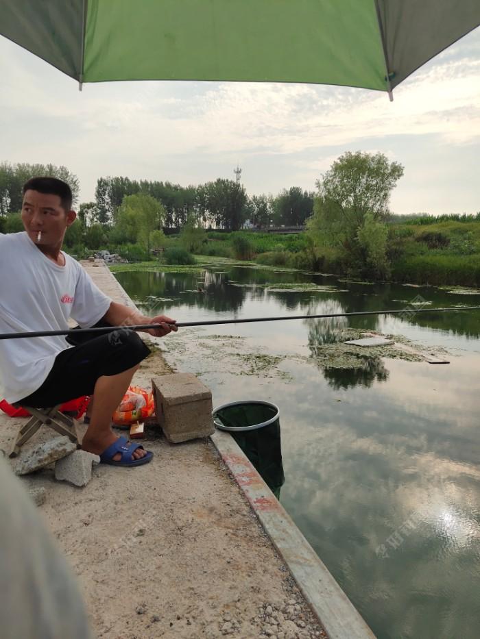 不一会来了个钓鱼,在我旁边,问我是不是第一次来这,我说是的,他说饵料不行,而且我的位置也不行,他打好窝子蚯蚓掉,虽然有小鱼,但是鱼没停过