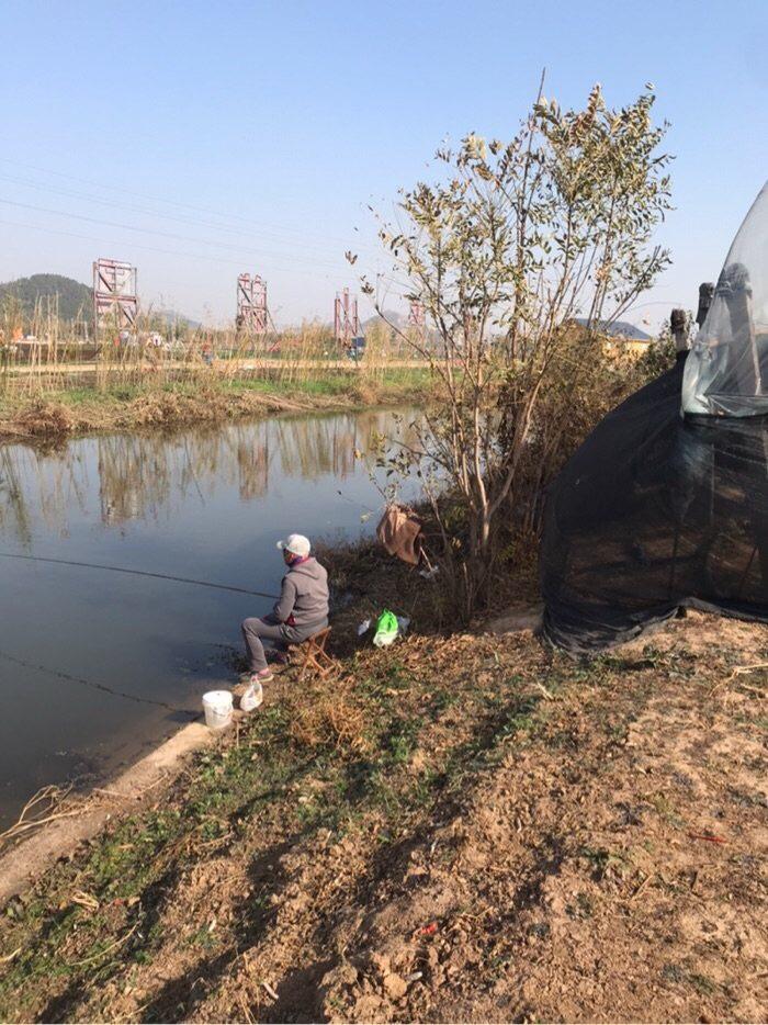 坐在河边晒太阳🌞钓鱼,十分舒适。