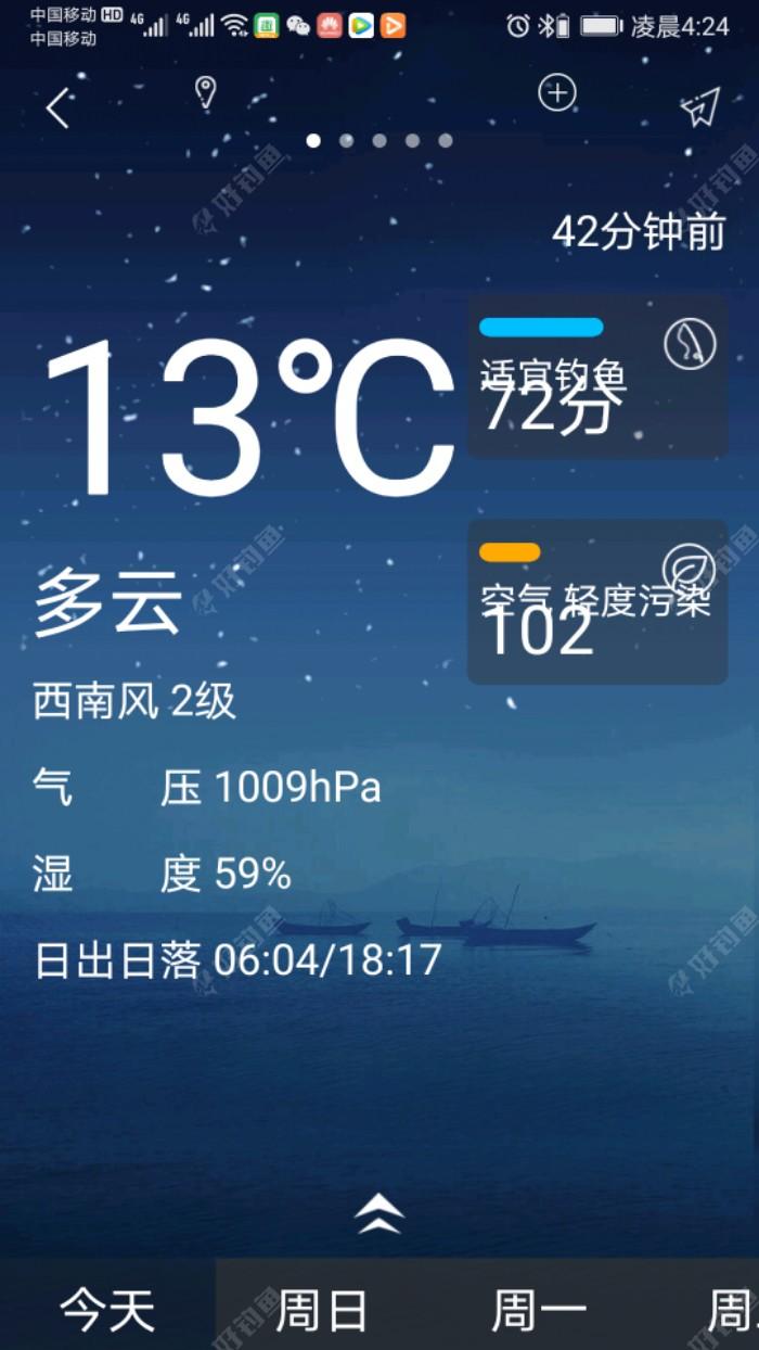 的目的地,江苏省淮安市洪泽区岔河镇附近寻河段。车在行驶中,我利用这段时间上,好钓鱼平台上查看一下当天的天气预报情况。今天,多云,西南风2级,气温13一26度,气