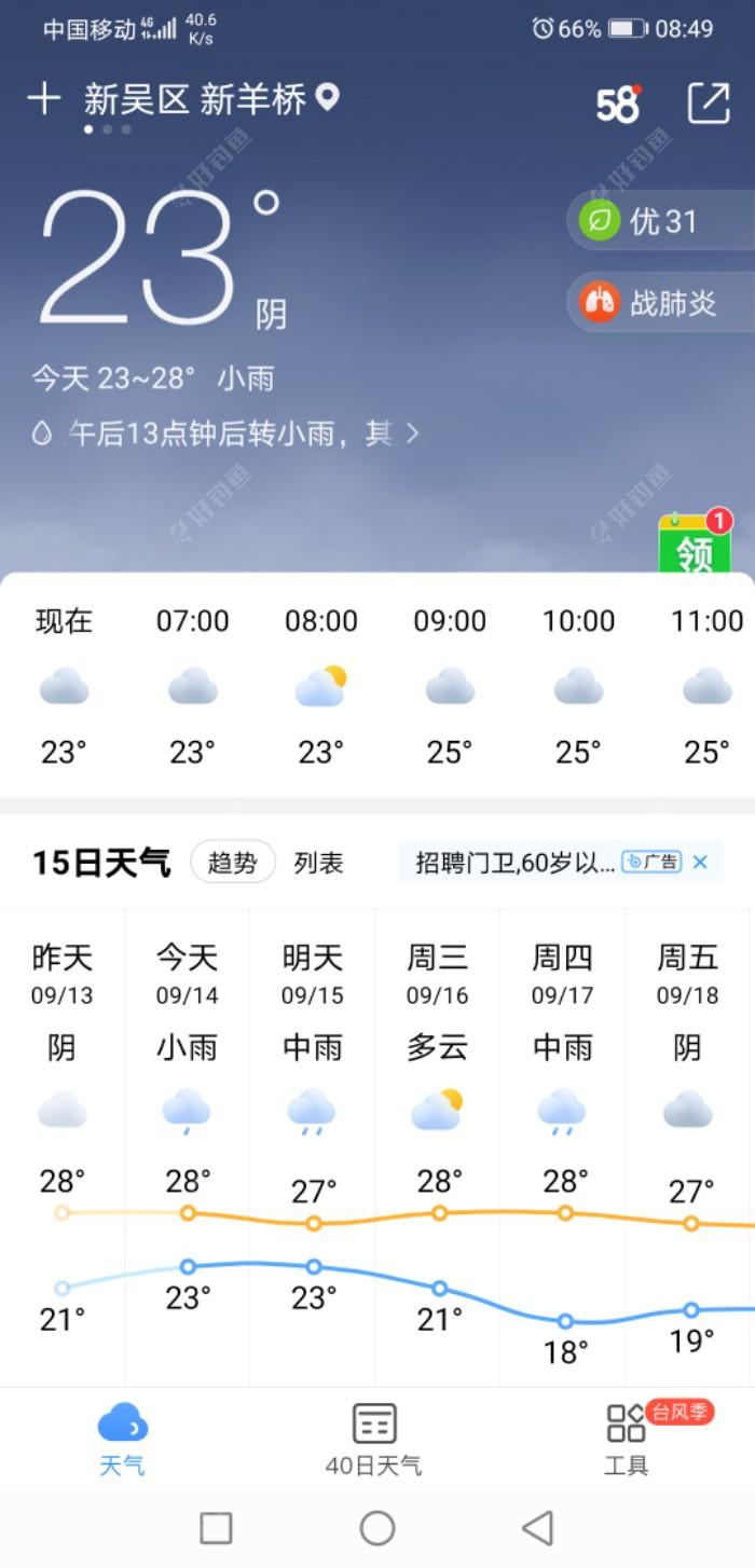 今天上午天气阴转多云,温度不高。