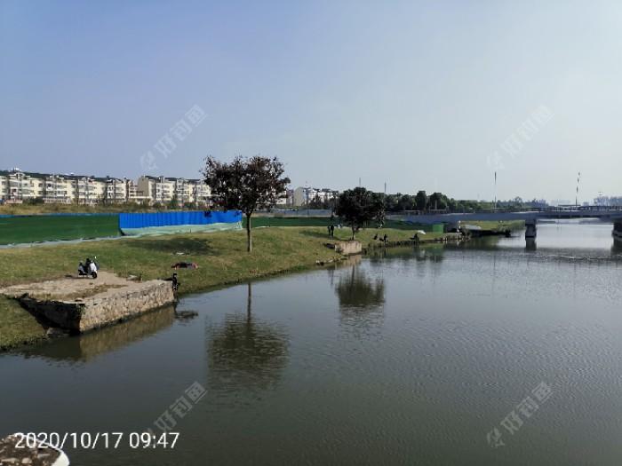 左前方的河坡上好几个钓友在钓鱼。